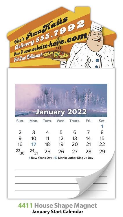 Magna-Cal House Magnet Standard Calendar - Jan. 2018