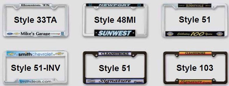 Chrome Plated Plastic Signature Dome License Plate Frames - Full ...