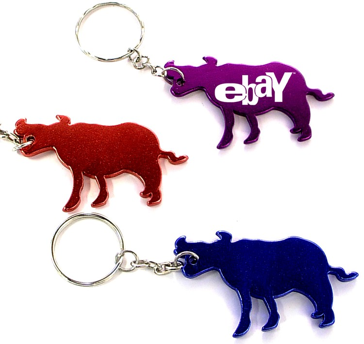Cow / Bull shape bottle opener with key chain.