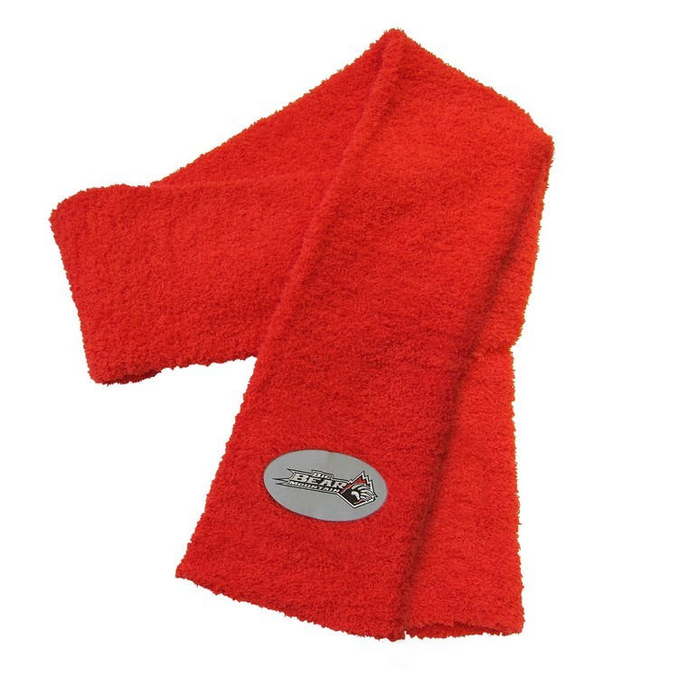 Fuzzy Scarf with Woven Patch