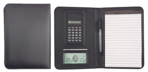 Leatherette Padfolio Calculator Notepad pen holder card slot 6.25x8.75x.5 black