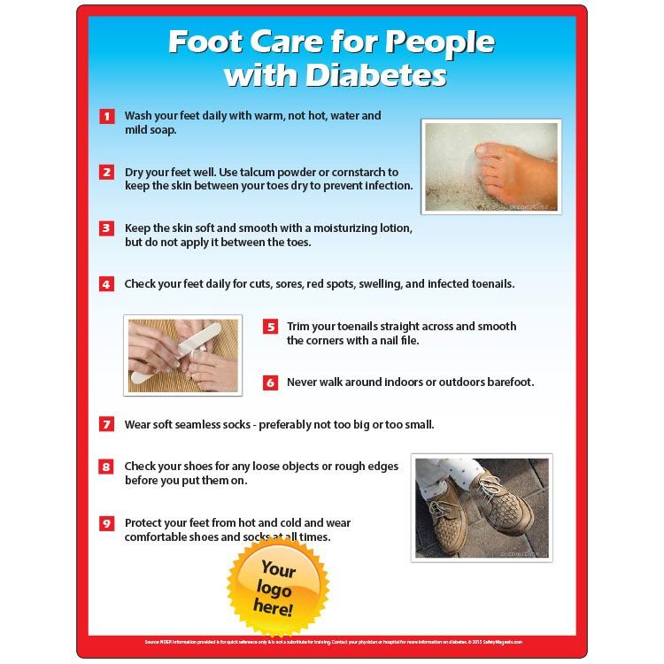 Diabetic Foot Care Memo Board 8 5x11 Laminated Magnet