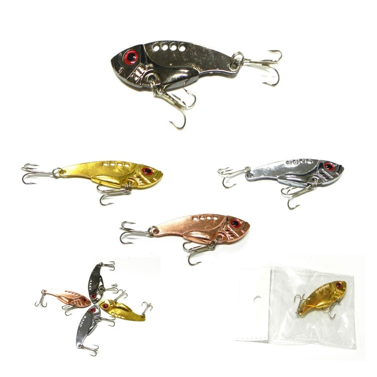 3D Eyes Metal Fishing Lure With Hook - 3.5 Cm Long