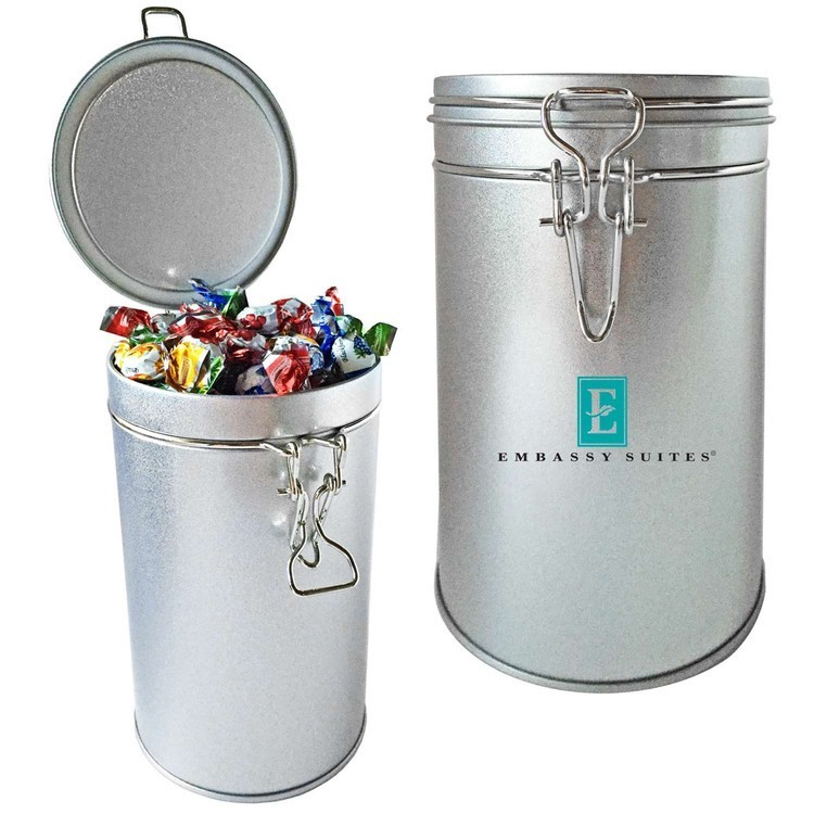 Air Tight Canister Tin Filled with Hard Candy 1Lb