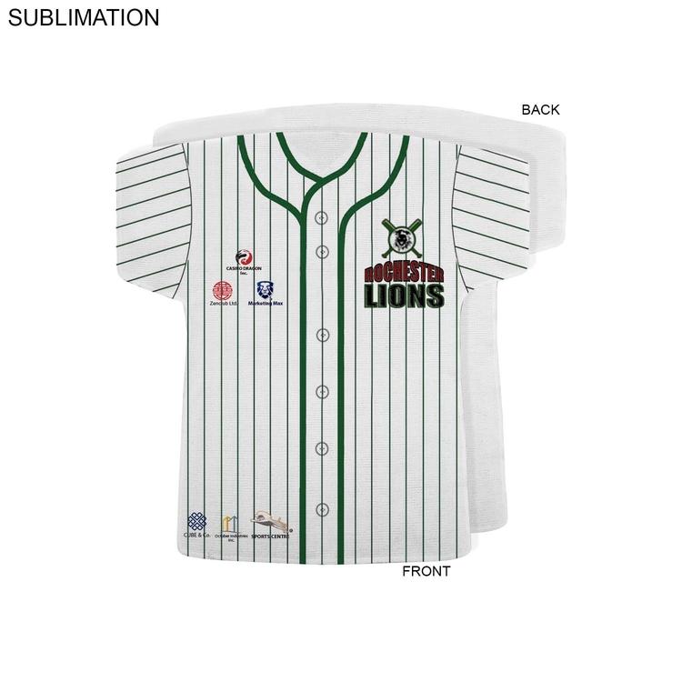 Baseball Jersey Shape Rally Towel, 17x18, Sublimated or Blank