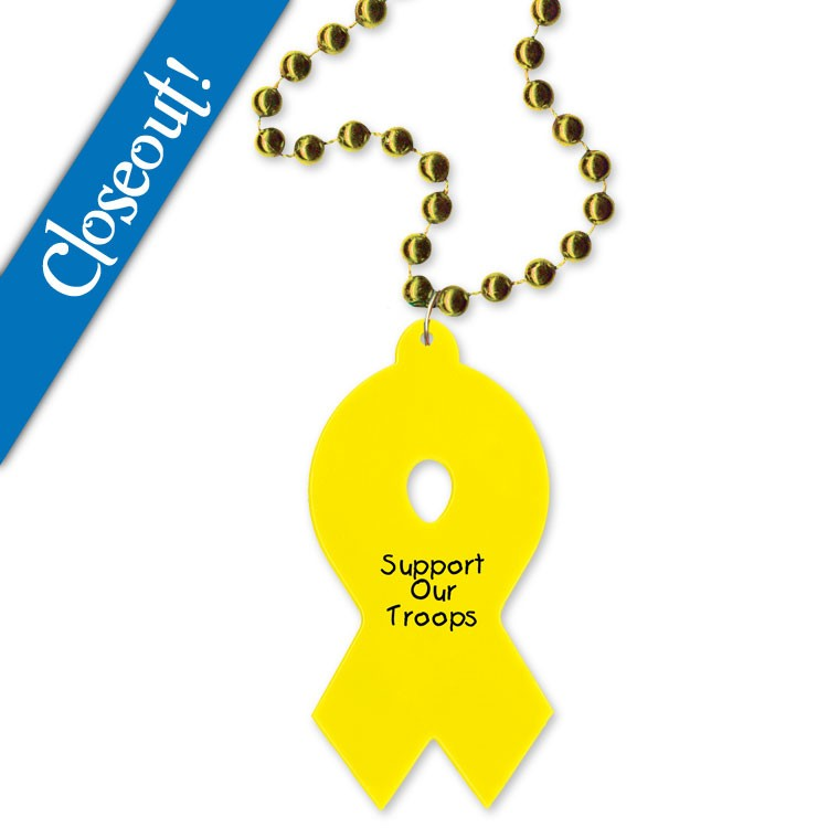 Gold Beads with Yellow Awareness Ribbon Medallion