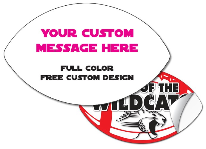 Sticker / Decal - 4.875x8 Inch Football Shape - UV Coated Removable Vinyl Misc