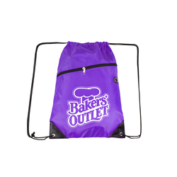Purple Drawstring Backpacks with Front Zipper Pocket