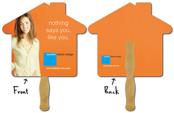 Hand Fan - 9.625x8.5 House Shape Laminated - 14 pt.