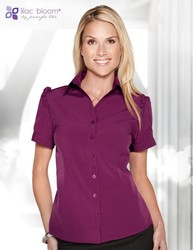 Women's 5.1 oz. 96% polyester/4% spandex short sleeve woven shirt. - LILY
