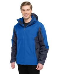 3-in-1 system jacket, windproof/water-resistant, lined with polyester mesh and nylon sleeves.