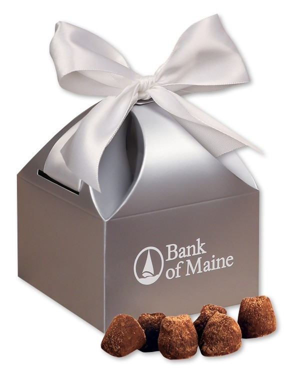 Cocoa Dusted Truffles in Silver Gift Box - Gourmet Food Gift
