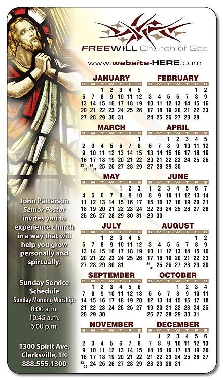 Religious Calendar Magnet - 4x7 Round Corners - 25 mil.