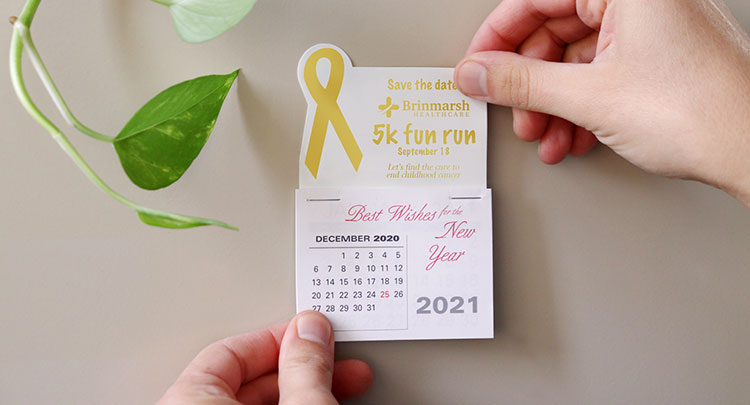 Mini sticky back calendar for event or company promotion