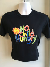 Long Lasting Heat Press Print on a Black T-shirt for No Child Hungry