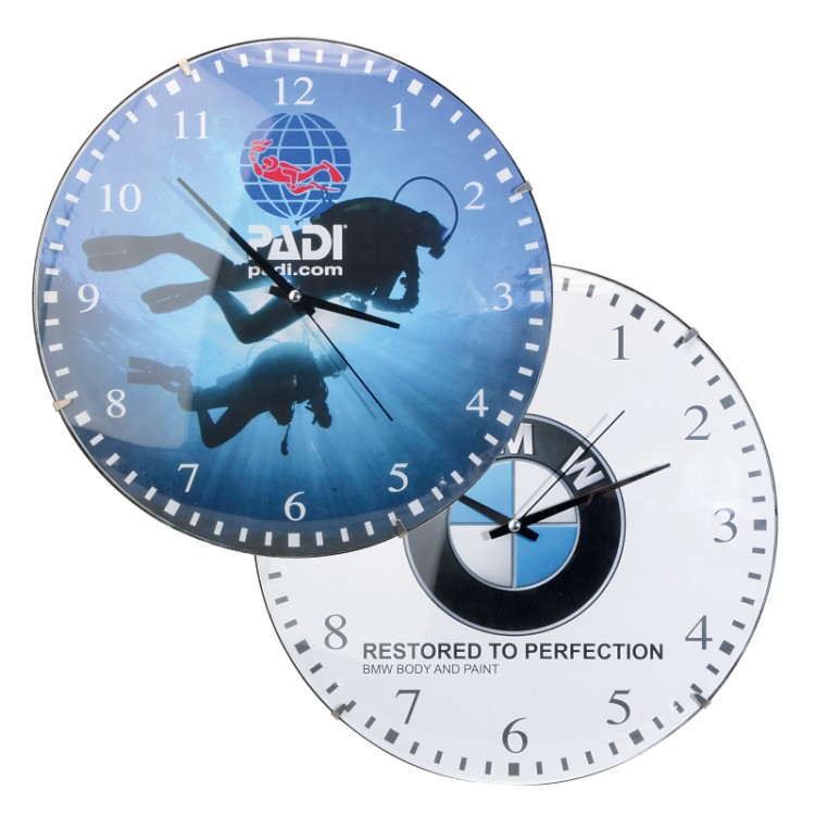 12 Frameless Domed Glass Wall Clock w/4 Color Process Printing (CMYK)