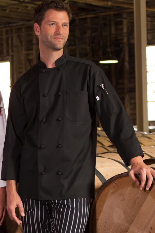 Classic French Knot Chef Coat, Black XS-XL