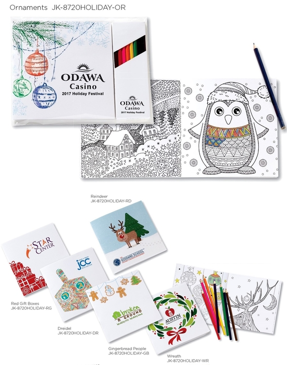 Deluxe Holiday Theme 7x7 Adult Coloring Book & 8-Color Pencil Set