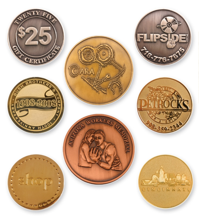 Coins / Medallions - 1.75 Die struck brass