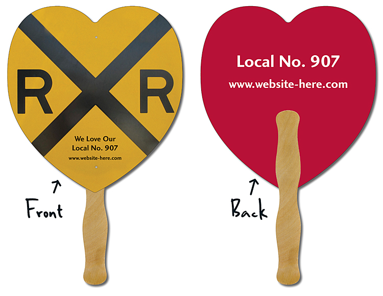 Hand Fan - 8.5x8 Heart Shaped Laminated - 14 pt.