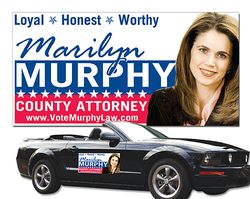 Political Magnetic Car Magnet Signs - 24x12 Inch Round Corners