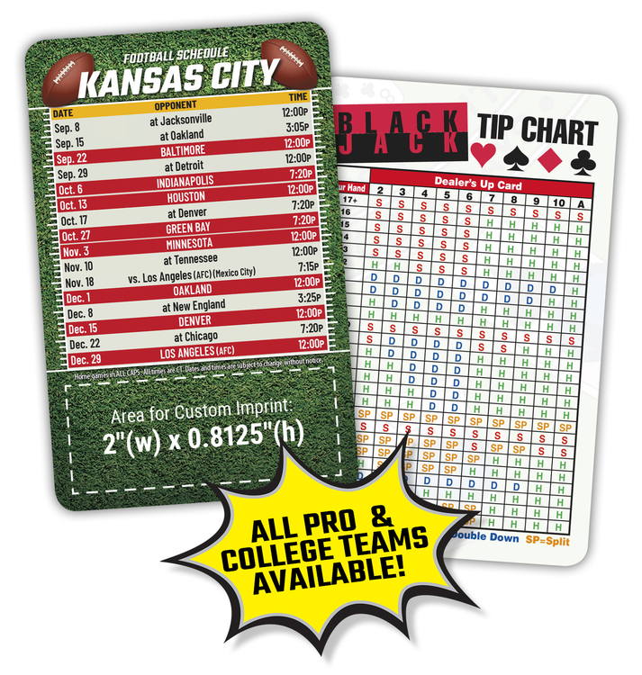Laminated Wallet Card - 3.5x2.25 Football Schedules - 14 pt.