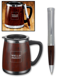 Bosque Mug and Pen Gift Set - Stainless Steel and Plastic
