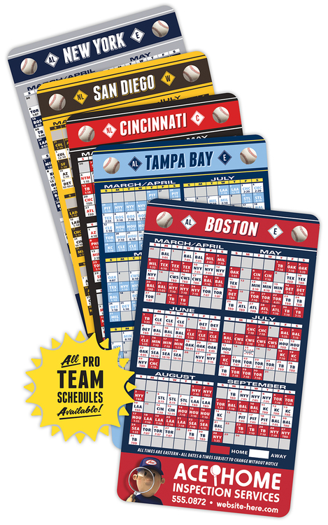 Laminated Baseball Schedules - 4x7 Round Corners Card - Repositionable Sticky Back