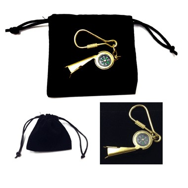 Vintage Whistle/Compass Key ring in velveteen pouch