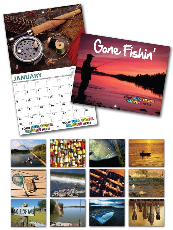 13 Month Custom Appointment Wall Calendar - GONE FISHIN\'