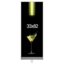 "33""W x 82""H Retractable Banner & StandSet -- Adjustable Model - Supreme Fabric"