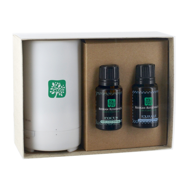 Electronic Diffuser with Two Essential Oil 15 Ml. Dropper Bottles in Gift Box