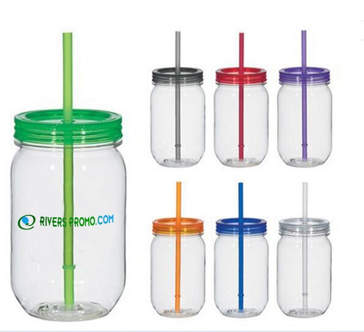 c8643009dbc5 16 Oz Plastic Mason Jar With Straw & Lid