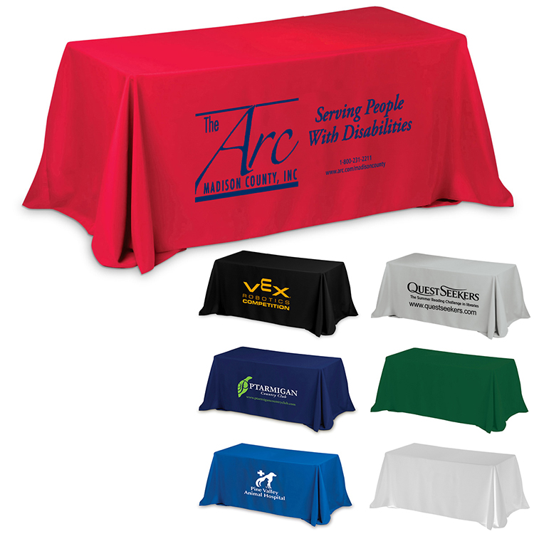 3-Sided Economy 6 ft Table Cloth & Covers (Spot Color Print)
