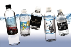 Custom Label Bottled Water - High quality, sturdy bottles with digitally printed full color glossy labels