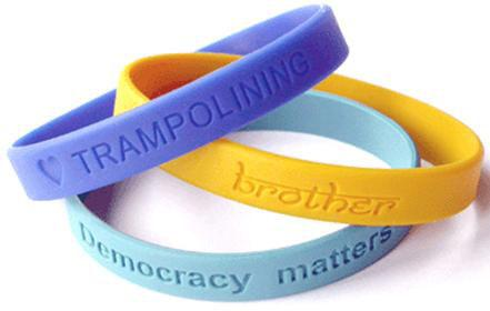 1 Embossed Segmented Color Filled Silicone Wristbands