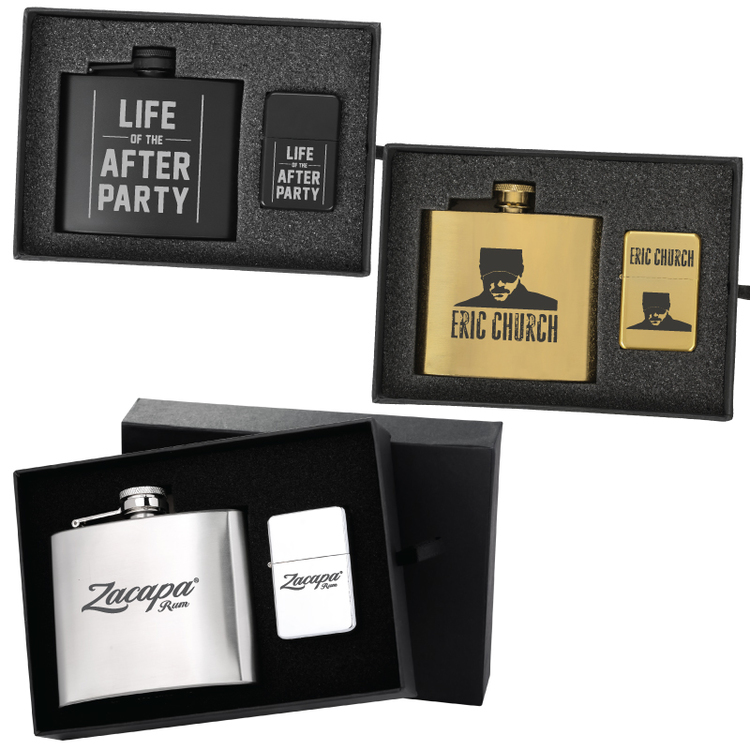 Deluxe 5 oz. Flask and Oil Flip Top Lighter Gift Set