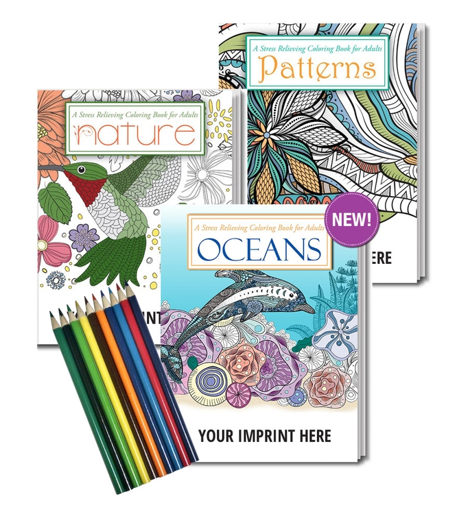 - ADULT COLORING BOOK GIFT PACK - 3 Coloring Books Set With Colored Pencils -  2130GP Hometown Promotionals, Harrisburg, NC