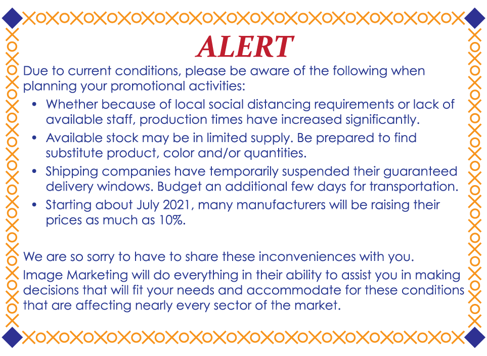 Alert About Manufacturing Issues