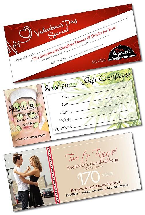 Gift Certificate - 4x9 - 80 lb. Matte Coated Paper
