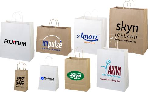 Paper Bags - White Kraft Shopper