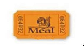 Single Tickets - STOCK MEAL IMPRINT No Logo included. 2000 roll