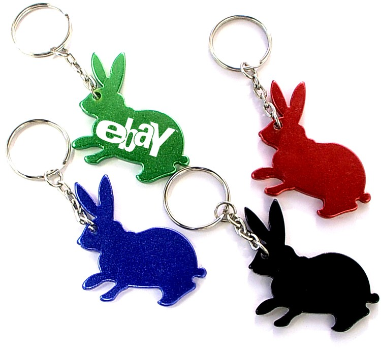 Rabbit shape bottle opener with key chain.