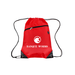 Red Polyester Drawstring Bag with Front Zipper Pocket