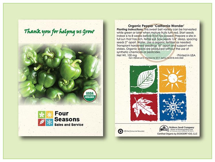 Organic Pepper 'California Wonder' Seed Packet - Imprinted Seed Packet