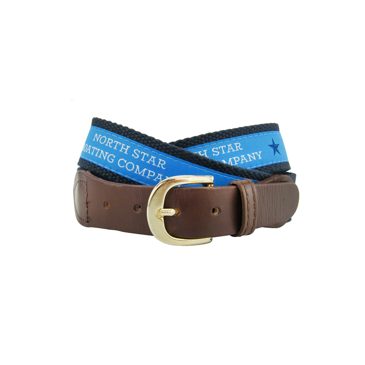 Leather Belt with Woven Fabric
