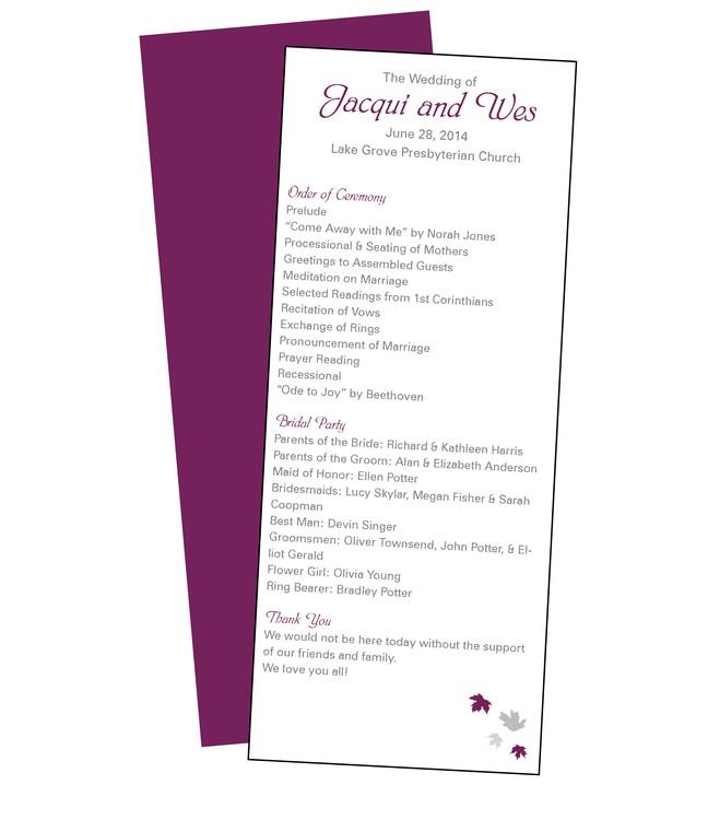 Wedding Program Card - 3.5x8.5