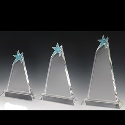 Blue Crystal Trophy with Genuine Rhine Stone Star on Top - Small