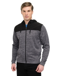 8.5 oz. 100% polyester full zip heather fleece hoodie.