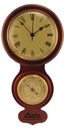 Wood Wall Clock with Barometer